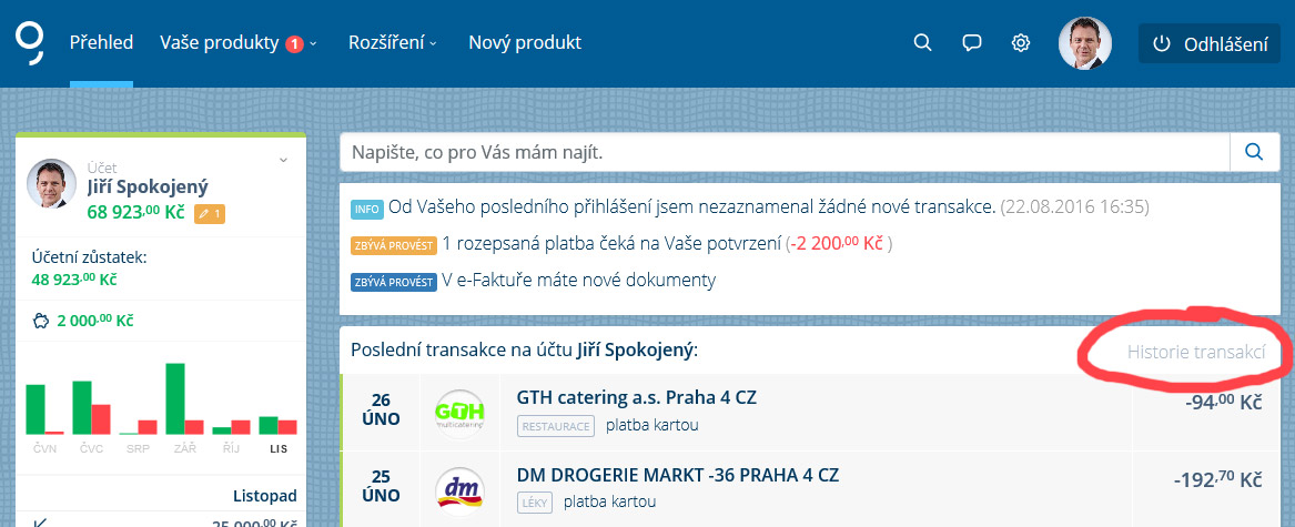 odkaz historie transakcí na george.csas.cz