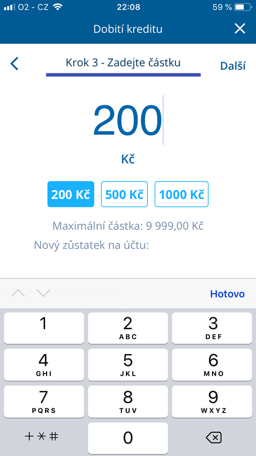 Jak dobít kredit přes aplikaci George Go?