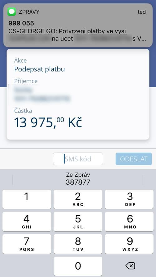 Jak potvrdit platbu bez přepisování autorizačního SMS kódu na iphonu?