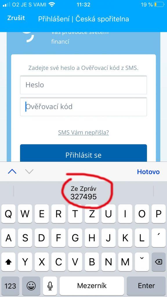 automaticky přepis sms kodu