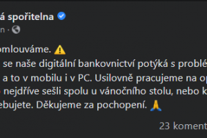 George má výpadek, Česká spořitelna o tom informuje i na Facebooku.